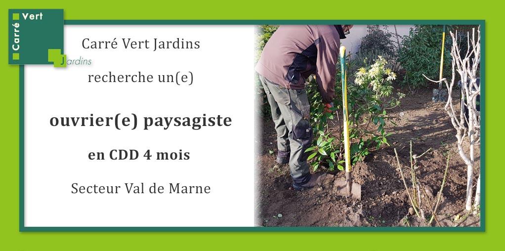 Carré Vert Jardins recrute un.e ouvrier.e paysagiste